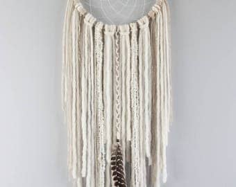 "Boho Dream Catcher, Extra Large Cream Dream Catcher 12"", DreamCatcher, Wall Hanging, Wall Decor, Willow, Wool Art, Boho Wedding, Nursery"