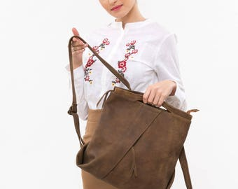 Brown leather backpack, Brown leather rucksack, Brown leather bag, Medium leather backpack, Leather backpack woman, Travel backpack