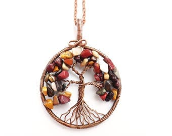 Tree-of-Life pendant Family tree necklace Jasper necklace  Wire wrapped jewelry Copper anniversary Protection amulet Tree of life necklace