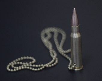 Genuine Distressed 7.62 Deactivated Brushed Brass Rifle Bullet Tip Pendant with Matching Ball Chain Necklace