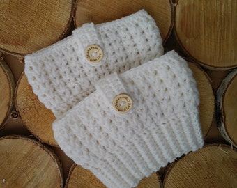 Crocheted boot cuffs Boot cuffs for sale Boot cuffs girls Boot cuffs with button Women's boot socks White boot cuffs Girls boot socks