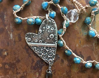 Summer Jewelry Trend   Crocheted Necklace with Silver Heart Pendant