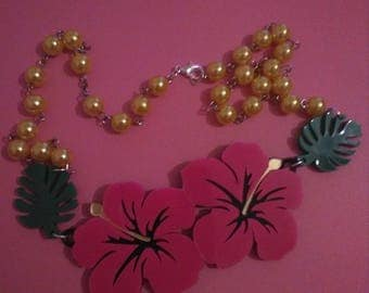 Pink Hibiscus pin up necklace