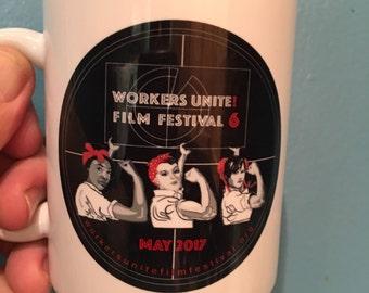 Workers Unite Film Festival mug - 3 Rosies