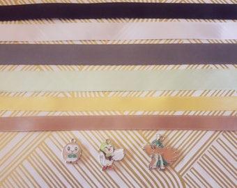 Rowlet / Dartrix / Decidueye Alòla Grass Type Pokemon Choker Necklace gold