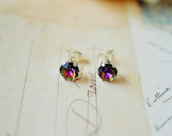 Silver Swarovski 'Volcano'  Crystal Studs / gifts for her / bridal earrings / rainbow crystal