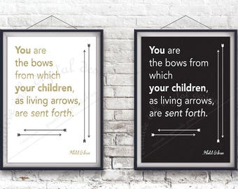 Wall Art, Khalil Gibran Quote, Gold on White