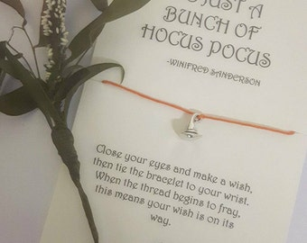 Hocus Pocus Wish Bracelet 'Its Just A Bunch of Hocus Pocus'. Halloween themed gift, featuring Tibetan Silver witches hat charm.