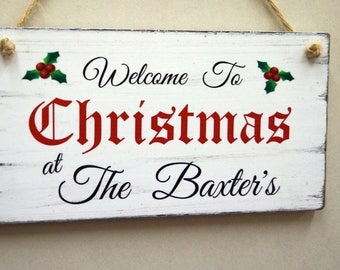 Shabby Chic Christmas Welcome Sign Personalised Sign, Merry Christmas Sign, Christmas Signs, Christmas Gift Idea