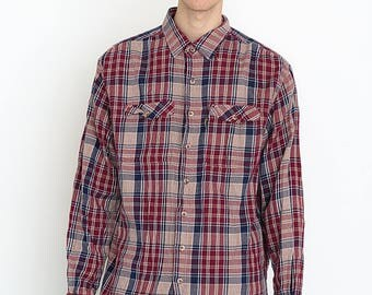 VINTAGE Pink Red Checked Long Sleeve Retro Shirt 2017