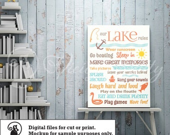 Lake sayings svg, lake life svg, lake rules svg, cutting file, ai dxf emf eps pdf png psd svg svgz tif files for cricut, silhouette, brother
