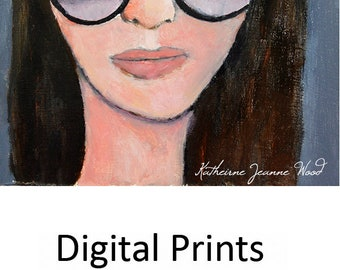 Woman Wearing Purple Sunglasses Portrait Painting Print. Apartment Wall Decor. Home Wall Art Prints. Art Gift for Her Home.