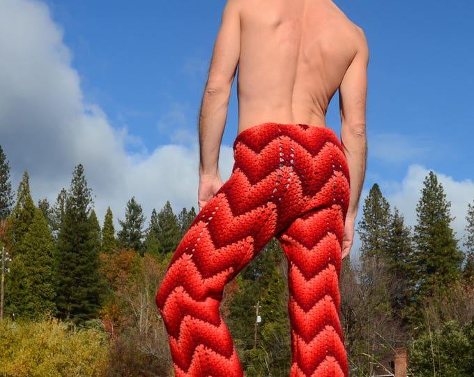 Crochet Pants Red Disco Bellbottom Wool