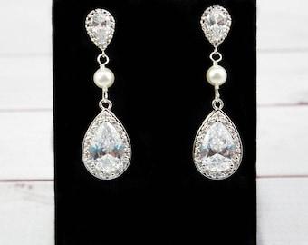 Wedding Earrings, Bridal Earrings, CZ Earrings, Long Earrings, Crystal Earrings, Cubic Zirconia Earrings, Drop Earrings, Bridal Jewelry,