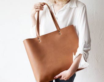 Back To School  SALE Large Tan Leather Tote bag No. Ltb-1709