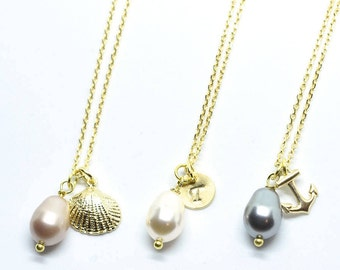 Gold Jewelry Necklace Gold Shell Necklace Bridesmaid Gift Initial Necklace Anchor Bridesmaid Jewelry Jewelry Gift For Mom Gift For Sister
