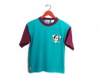 vintage t shirt / Mighty Ducks shirt / 90s sportswear / 1990s Anaheim Mighty Ducks hockey color block t shirt XS