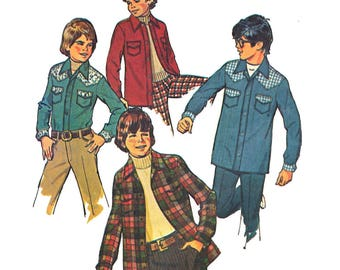 """Simplicity 6641 Boy Western Shirt, Unlined Western Shirt-Jacket Size 7 or 8 Chest 26"""" or 27"""" 1970s Vintage Sewing Pattern"""
