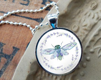Dragonfly Necklace, Dragonfly and Lavender Glass Pendant, Dragonfly and Flowers Pendant, Watercolor Dragonfly Pendant