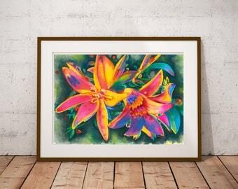 Watercolor painting Rainbow flowers Floral print Fine art Vibrant colors Summer garden Home decor Gift