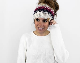Ponytail Headband, Messy Bun Hat, Knit Pony Tail Hat, Running Headband- Patuxent Ponytail Hat