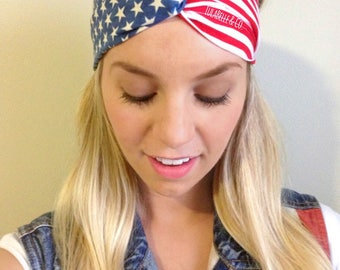 Party in the USA (American Flag) Turban Twist Headband / Fits ALL AGES / Fourth of July / 4th of July / Patriotic / America / Red White Blue