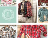 Upcycled Embellished SaSSY Shirts // Ready to Ship / Eco-friendly / Plaid Shirts / Flannels