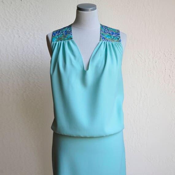 Seafoam green dress, summer dress, turquoise, green, jade, aquamarine, with Japanese fabric. Short Cocktail Dress. Aqua Bridesmaid dress