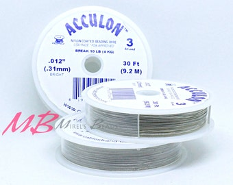 012 Acculon Tigertail, 30 Ft Spool, 3 Strand Clear Flexible Wire, Flexible Beading Wire
