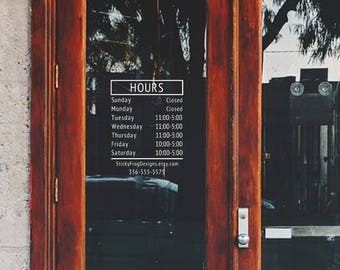 Store Hours Decal, Customized with your Business Hours | Custom Storefront Decal | Business Hours Sticker | Hours of Operation Decal |