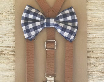 Gingham bow tie suspender set for Ring Bearer Outfit groomsmen Suspenders Rustic Wedding Suspenders Baby Bowtie Suspender Set Bow Tie Braces