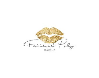 Glitter gold lipsense logo | Gold lips logo | Beauty logo | Makeup logo | Feminine logo Instant download logo for makeup artist Premade logo