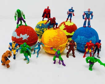 Sale! 3 or 5 Set of 7 oz Superhero Friends Inspired kids Bath Bombs/Party Favor Set with Marvel Figures Toy Inside.