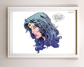 Wonder Woman Brownies Art Print Poster Super Hero Digital Art DC Comics