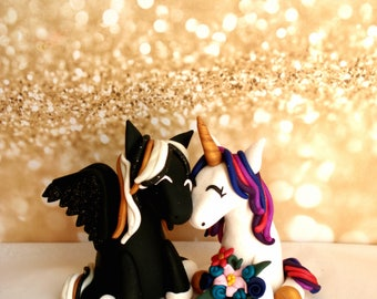 Unicorn Bride and Groom Wedding Cake Topper Fantasy Wedding Ideas Unicorn Cake Topper Polymer Clay Cake Toppers Pegasus Cake Topper