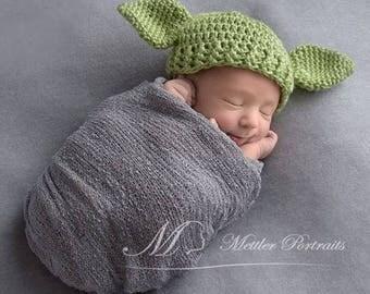Crochet Yoda Hat | Yoda Costume | Toddler Yoda Hat | Yoda Baby | Star Wars Baby | Yoda Photo Prop  | Star Wars Nursery | Adult Yoda Hat