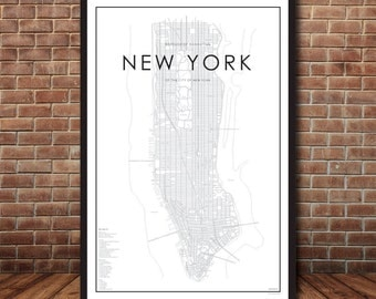 Digital New York City Map, Map of Manhattan, New York Print, Map Poster, NYC Map, New York Map, Manhattan Map, Street Map, Map of NYC