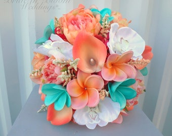 Tropical wedding bouquet, Coral peach turquoise bouquet, Beach destination bridal flowers