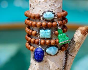 Diamond Gemstone Sandalwood Stretch Bracelet, Yoga Style, Turquoise, Boho, Pave Diamonds, Diamond Buddha Charm, Lapis, Green Onyx, Larimar