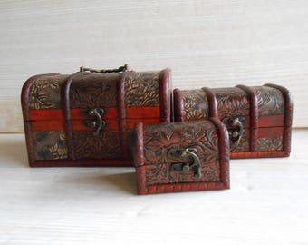 Set of 3 Vintage Wooden Chest, Wood and Leather Trinket Box, Wooden Box for jewelry, Brown Wood and Leather Box, Wood Chest  Jewelry