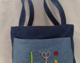 Sewing Themed Unstructured Tote Bag