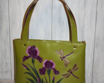 Green leather bag - Leather handbag - leather handbag handmade - bag with flowers - bag with irises - bag with dragonflies