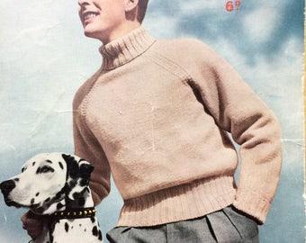 "Vintage knitting pattern 1940's Sirdar 1485 Man's polo neck pullover 36"" 38"" 40"" DK"