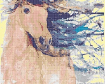 horse Cross Stitch Pattern Watercolor pattern needlepoint needlecraft -165 x 234 stitches - INSTANT Download - B1504