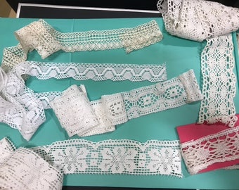 "Collection various antique/vintage lace trims.9 Yard 10""Use for clothing, sewing, dolls, accessories,costumes,craft, textile art work."