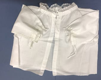 2 antique/vintage Victorian baby French chemise vest Embroidered cotton Edged with lace For doll bear baby collection museum display