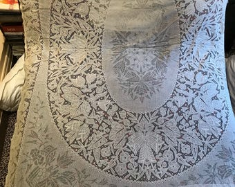 "Huge antique 1920 Art Deco Lace Bedspread Cover Curtain Very Good Condition 110"" X 77 Stunning ,White cotton lace , for home decor,chateau"