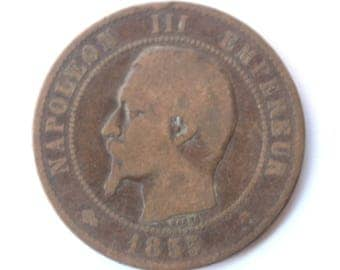 Rare old French currency- 10 centimes 1855- Napoleon III- Coin - Collection