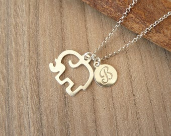 Personalized Elephant Necklace, Silver Elephant Necklace, Elephant Charm Necklace, Lucky Charm Necklace, 925 Silver Jewelry