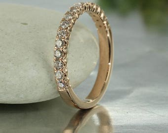 Conflict Free Diamond Wedding Band 14k Rose Gold Half Eternity Wedding Band